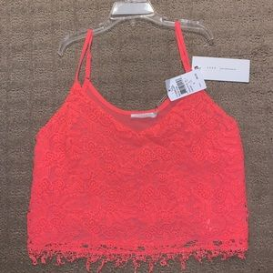 Lush Neon Pink Lace Crop Top